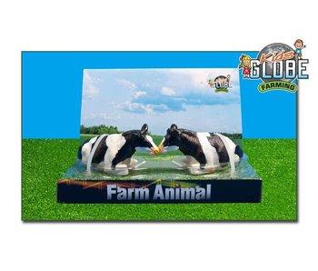 Kids Globe koeien 2stuks zwartbont liggend 1:32