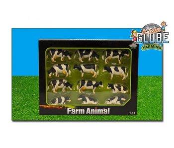 Kids Globe set van 12 koeien zwarbont 1:32