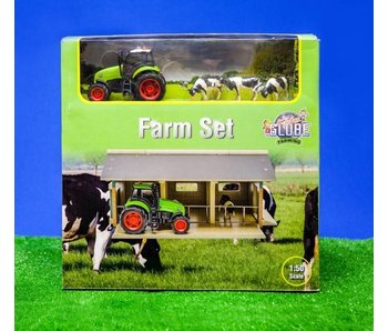 Kids Globe Traktorset met 3 koeien en stal 1:50