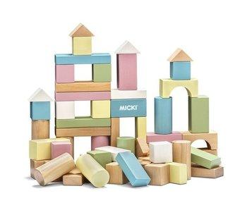 Micki Houten bouwblokken pastel (60st.)