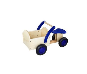 New Classic Toys houten bakfiets blank/blauw