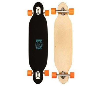 Nijdam Longboard Drop Through Criss Cross zwart / oranje