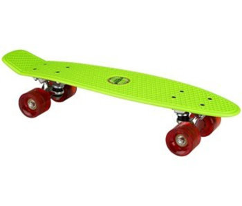 Nijdam Plastic Skateboard 22.5q b LED wielen Fluorgroen/Rood
