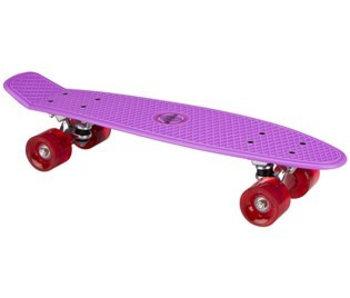 Nijdam Plastic Skateboard 22.5q b LED wielen Paars/Fuchsia