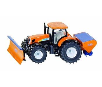 Siku New Holland tractor met sneeuwschuif en zoutstrooier 1:50