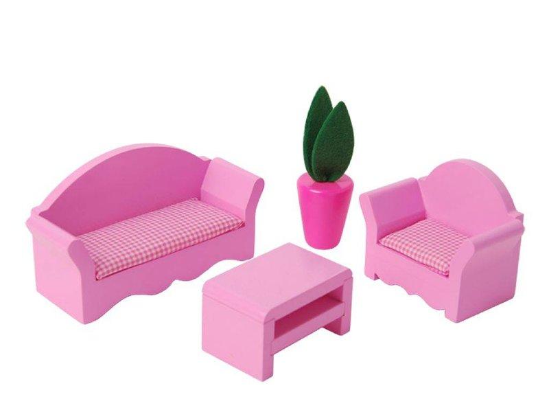 Poppenhuis met meubelset (17-delig)