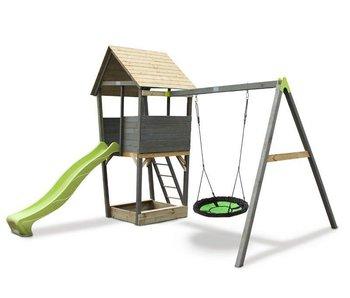 EXIT Aksent Speeltoren met aanbouwschommel (nestschommel)