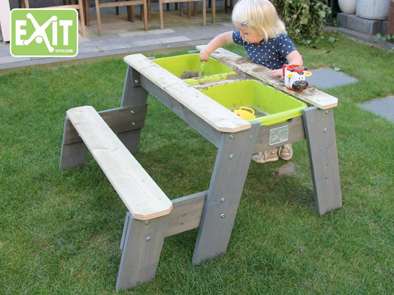 Multifunctionele Indoor Picknicktafel : Exit aksent zand water en picknicktafel l 1 bankje