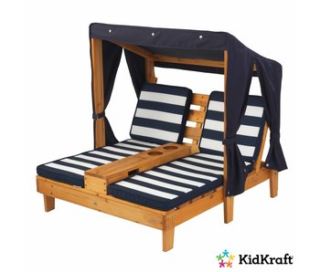 KidKraft Tweepersoons chaise longue met bekerhouders - honingkleurig en marineblauw