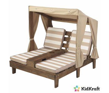 KidKraft Tweepersoons chaise longue voor buiten met bekerhouders - espresso en beige