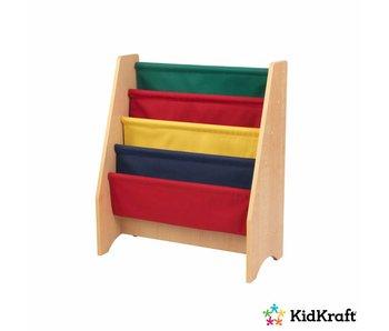 KidKraft Boekenrek met hangvakken - primaire kleuren en naturel