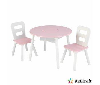 KidKraft Set met ronde opbergtafel en 2 stoelen - roze en wit