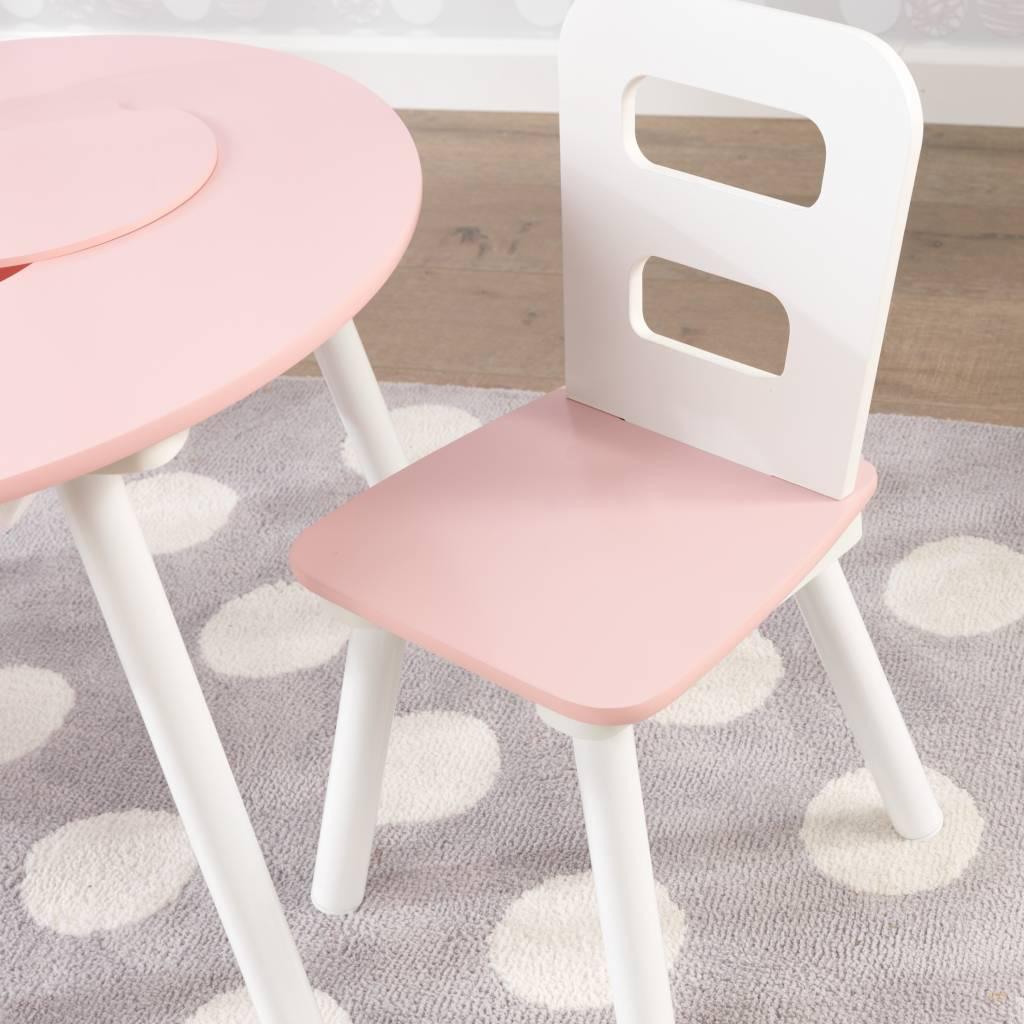 Set met ronde opbergtafel en 2 stoelen roze en wit