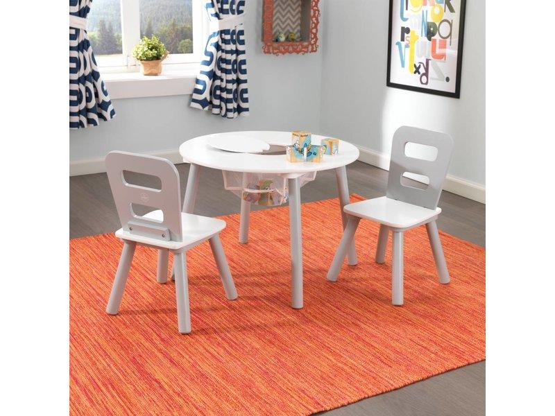 KidKraft Set met ronde opbergtafel en 2 stoelen - grijs en wit
