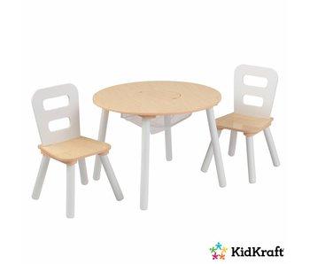 KidKraft Set met ronde opbergtafel en 2 stoelen - naturel en wit