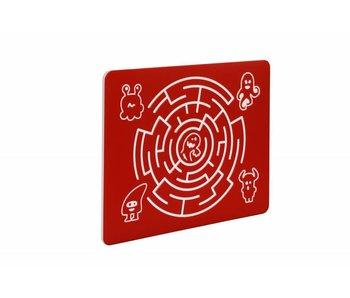 HDPE speelpaneel 'doolhof rond' - rood