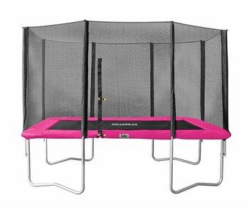 Salta Rechthoekige trampoline 214x153 roze met veiligheidsnet