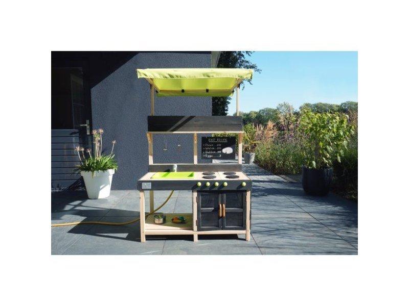Houten Buiten Keuken : Buitenkeuken eiken hout  met natuursteen werkblad