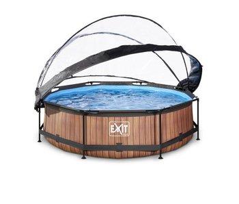 EXIT Wood zwembad ø300x76cm met overkapping en filterpomp