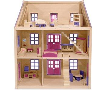 Melissa & Doug Houten Poppenhuis met 3 Verdiepingen