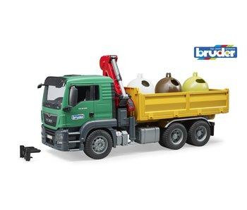Bruder MAN TGS Kraan met 3 containers 03753