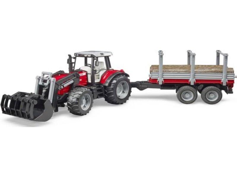 Bruder Massey Ferguson 7480 tractor met voorlader en houttransport trailer 02046