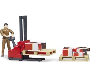 Bruder UPS pakketpost palletwagen met figuur - Speelset 62210