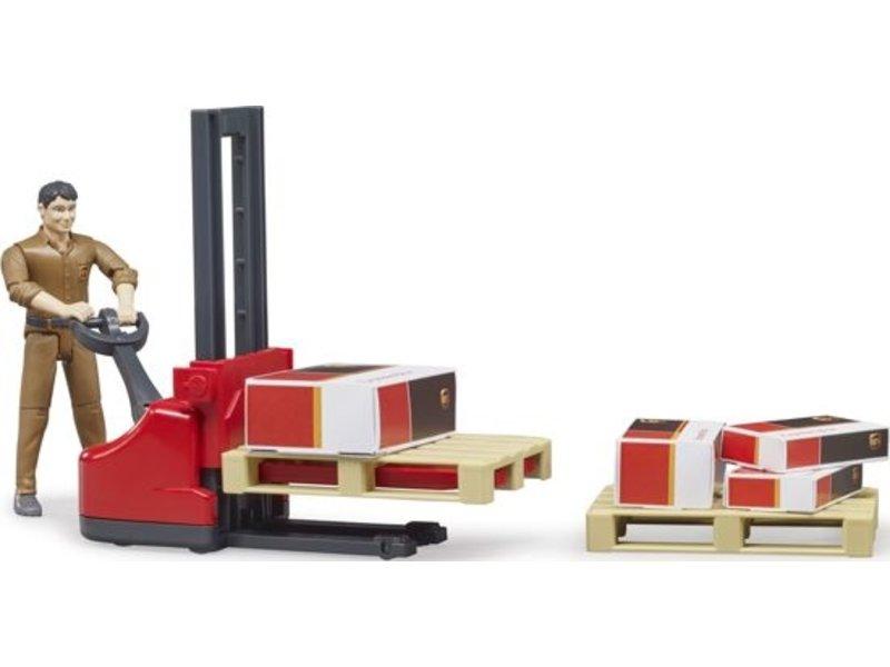 Bruder UPS pakketpost palletwagen met figuur - Speelset