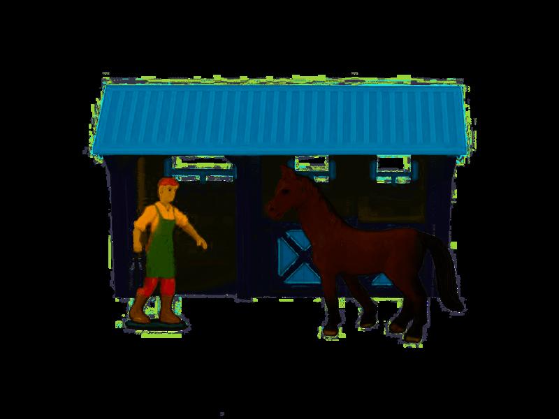 Dutch Farm Serie  Paardenstal met Figuur en Paard