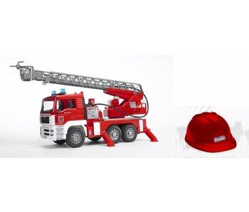 Bruder MAN brandweer ladderwagen + Helm