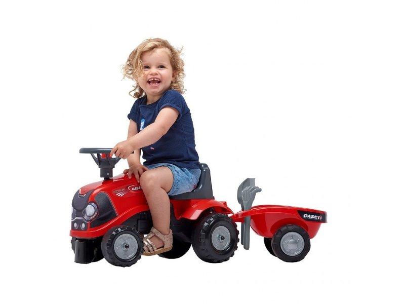 Falk Tractor Case Babyfarmer met Aanhanger - Looptractor