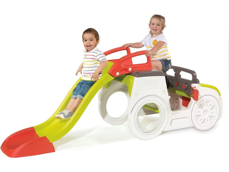 Smoby adventure speelhuis auto met glijbaan en zandbak