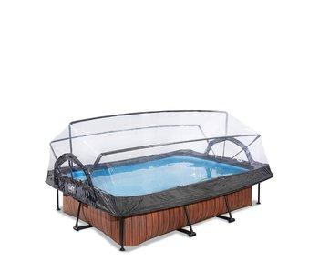 EXIT Wood/Stone zwembad 300 x 200 x 65 cm met overkapping