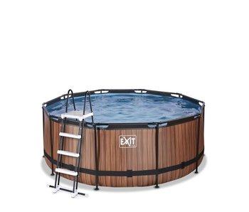 EXIT Wood/Stone zwembad ø360x122cm met filterpomp - bruin