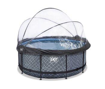 EXIT Stone/Wood zwembad ø360x122cm met overkapping en filterpomp