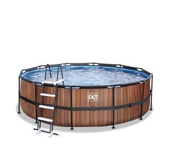EXIT Wood/Stone zwembad ø450x122cm met filterpomp