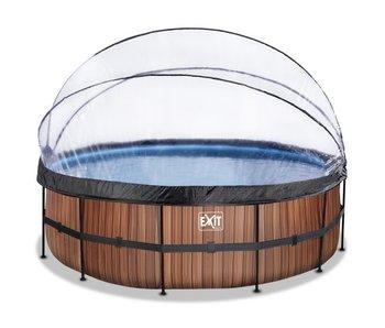 EXIT Stone/Wood zwembad ø450x122cm met overkapping en filterpomp