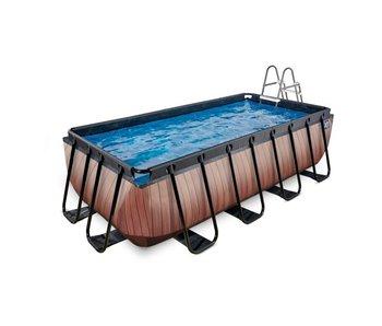 EXIT Wood zwembad 400x200x100cm met pomp Bruin