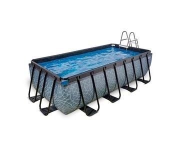EXIT zwembad 400x200x100cm met filterpomp - grijs