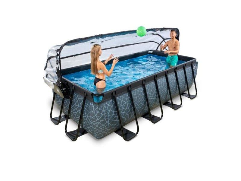 EXIT Stone zwembad 400x200x100cm met overkapping en zandfilterpomp - grijs