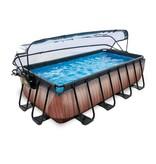 EXIT Wood zwembad 400x200x100cm met overkapping en Zandfilterpomp - bruin