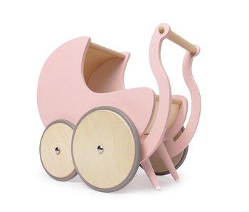 Kinderfeets houten poppenwagen roze
