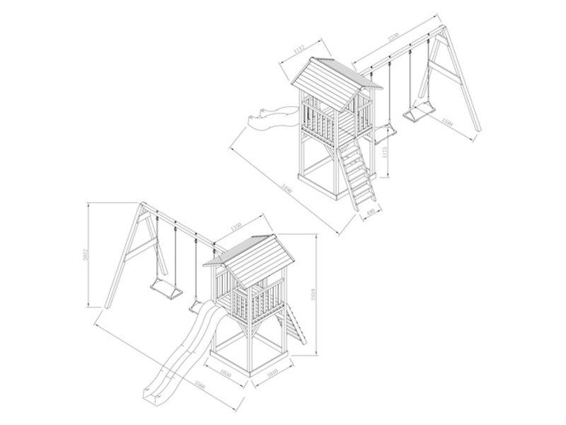 Axi Beach Tower met dubbele schommel (grijs/wit)