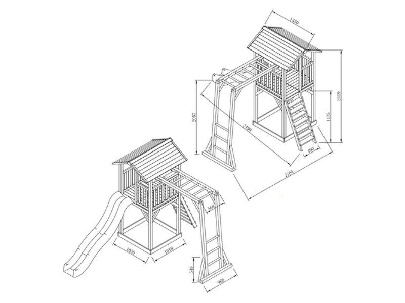 Axi Beach Tower met klimrek (grijs/wit)