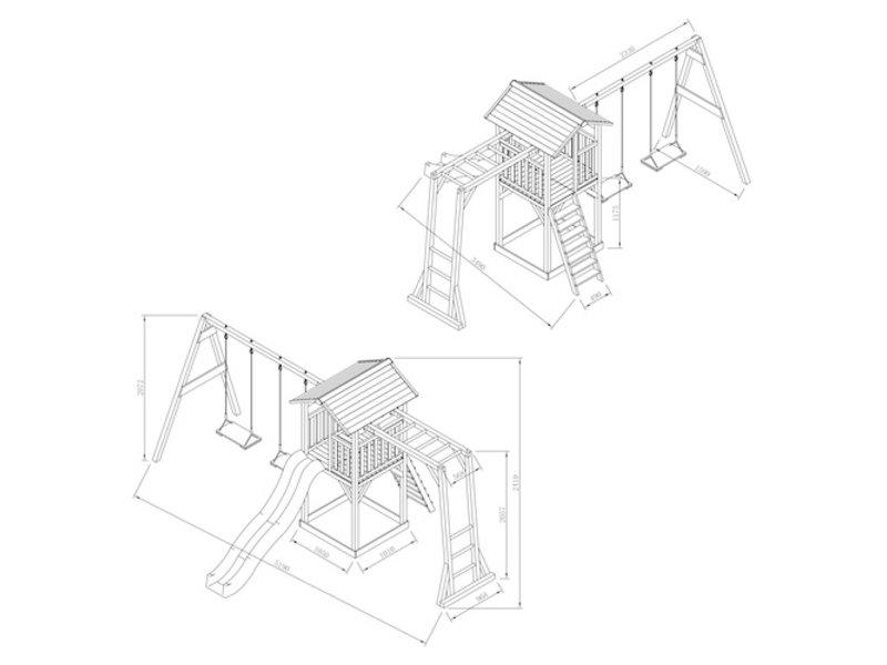 Axi Beach Tower met klimrek en dubbele schommel (grijs/wit)