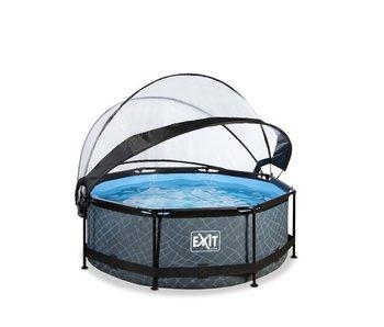 EXIT zwembad ø244x76cm met overkapping en filterpomp