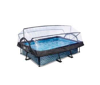 EXIT zwembad 220x150x65cm met overkapping en filterpomp