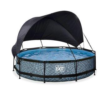 EXIT zwembad ø360x76cm met schaduwdoek en filterpomp