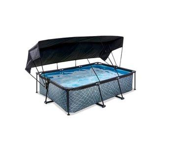 EXIT zwembad 220x150x65cm met schaduwdoek en filterpomp
