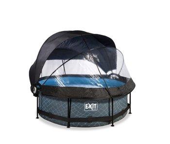 EXIT Frame Pool ø244x76cm (12v Cartridge filter) + Overkapping + Zonnedak